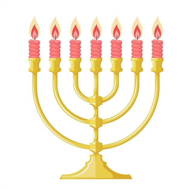 Ilustración de una menorah con velas rojas. caricatura de la menorá judía. estilo de dibujos animados asunto de la religión judía Vector Premium