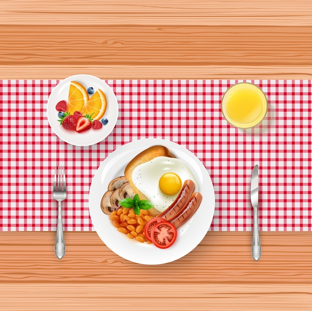 Ilustración del menú de la comida del desayuno con huevo frito y bayas en la mesa de madera Vector Premium