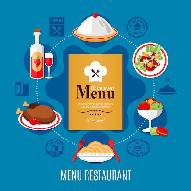 Ilustración del menú del restaurante vector gratuito
