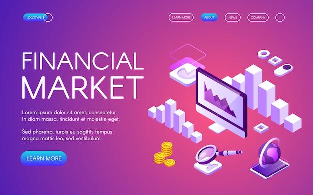 Ilustración del mercado financiero del marketing digital y la estadística del comercio de criptomonedas de bitcoin vector gratuito