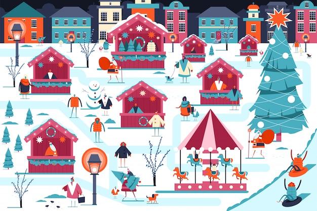 Ilustración del mercado navideño. Vector Premium