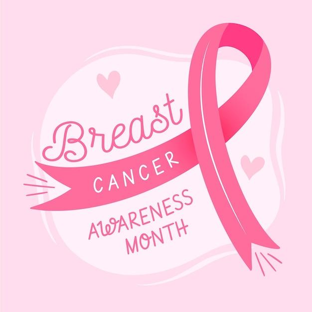 Ilustración del mes de concientización sobre el cáncer con cinta rosa vector gratuito