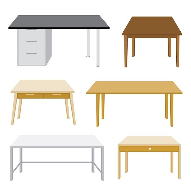Ilustración de mesa de madera de muebles aislado Vector Premium