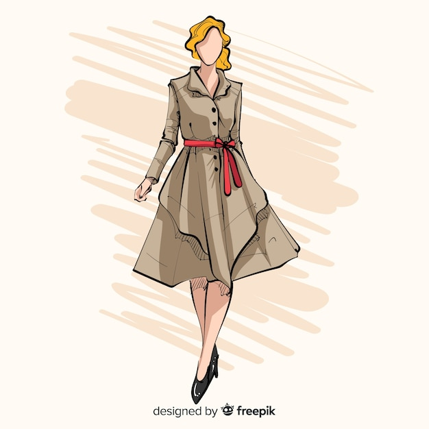 Ilustración de moda con modelo femenino vector gratuito