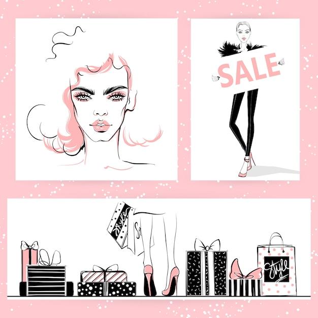 Ilustración de moda. vector elegante chicas. Vector Premium