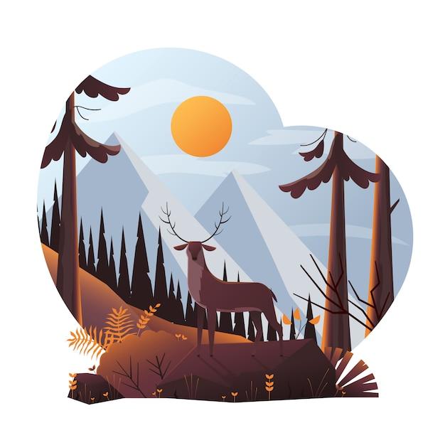 Ilustración moderna de ciervos en el bosque Vector Premium