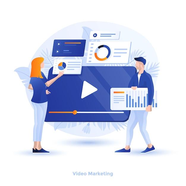 Ilustración moderna en color - video marketing Vector Premium