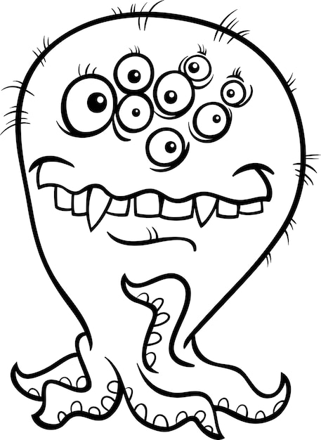 Ilustración de monstruo de dibujos animados para colorear ...