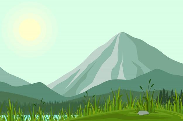 Ilustración de montañas Vector Premium