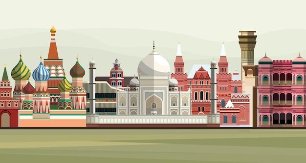 Ilustración de los monumentos famosos del mundo vector gratuito
