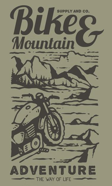 Ilustración de motos custom retro en la cima de la montaña Vector Premium
