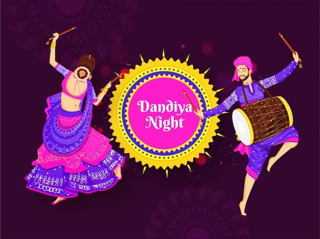Ilustración de mujer bailando con palo dandiya y baterista Vector Premium