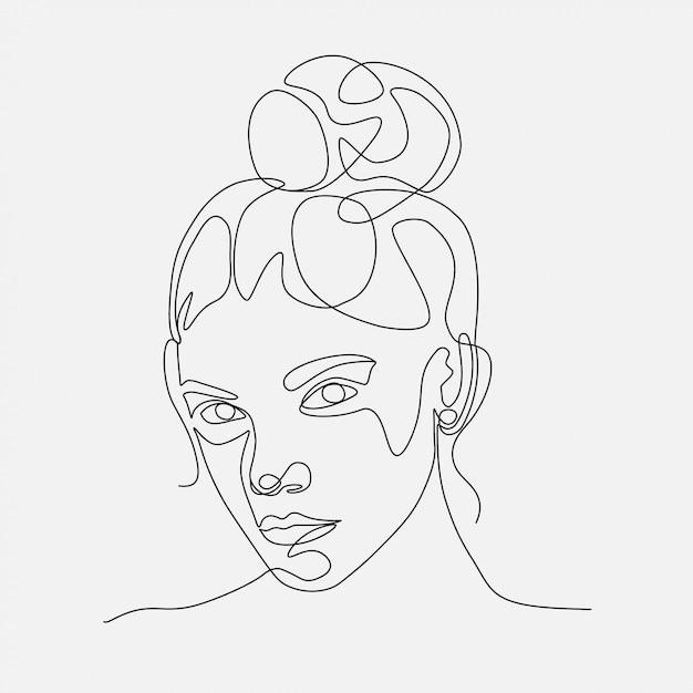 Ilustración de mujer cabeza lineart. un dibujo lineal. Vector Premium