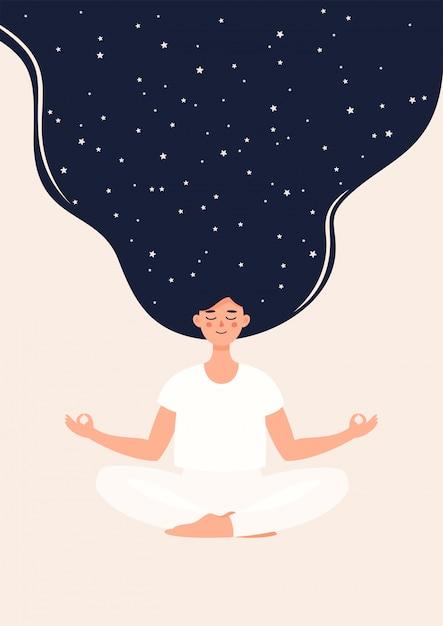 Ilustración de mujer está meditando en posición de loto con estrellas Vector Premium