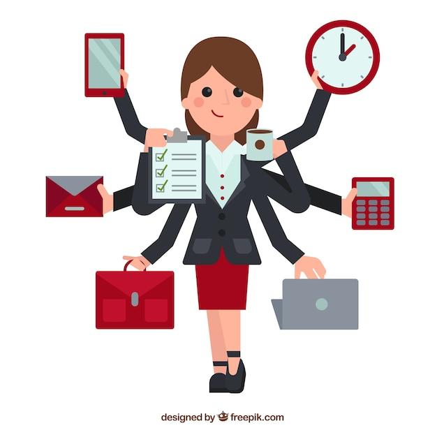 Ilustración de mujer multitarea vector gratuito
