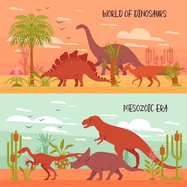 Ilustración del mundo de los dinosaurios vector gratuito