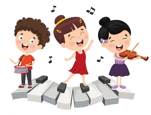 Ilustración de la música infantil Vector Premium