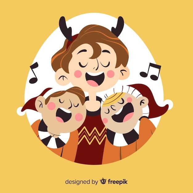 Ilustración navidad gente cantando vector gratuito