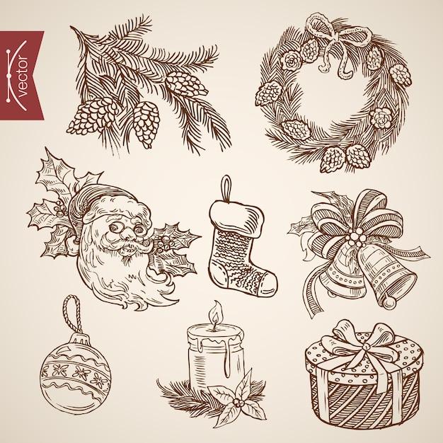 Ilustración de navidad grabada vector gratuito