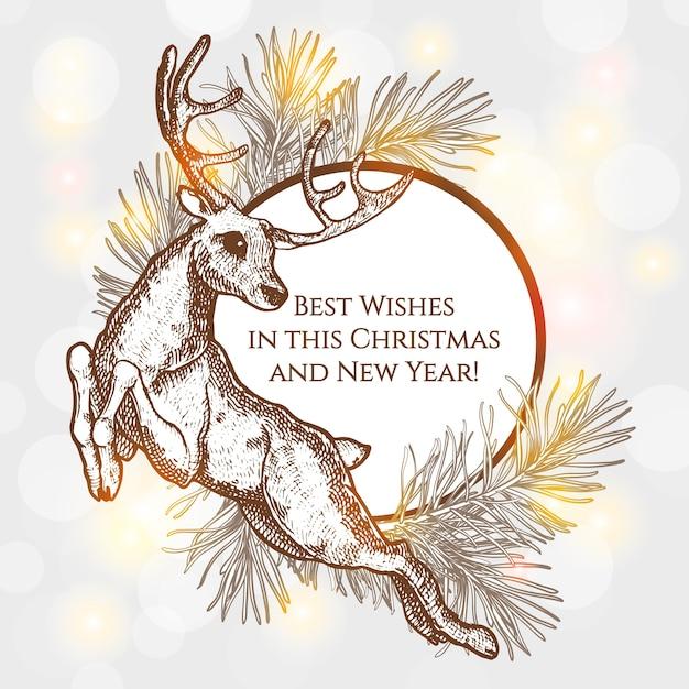 Ilustración De Navidad Con Renos El Diseño De Las Cartas Año Nuevo