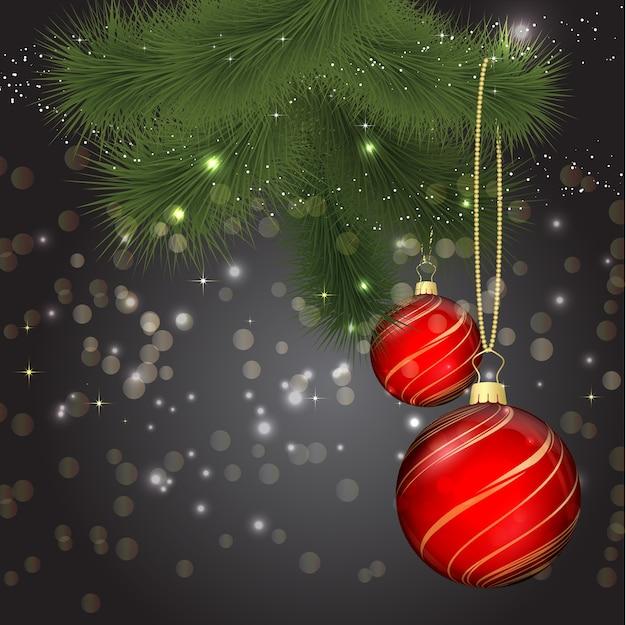 Ilustración navideña con adornos y rama de abeto vector gratuito