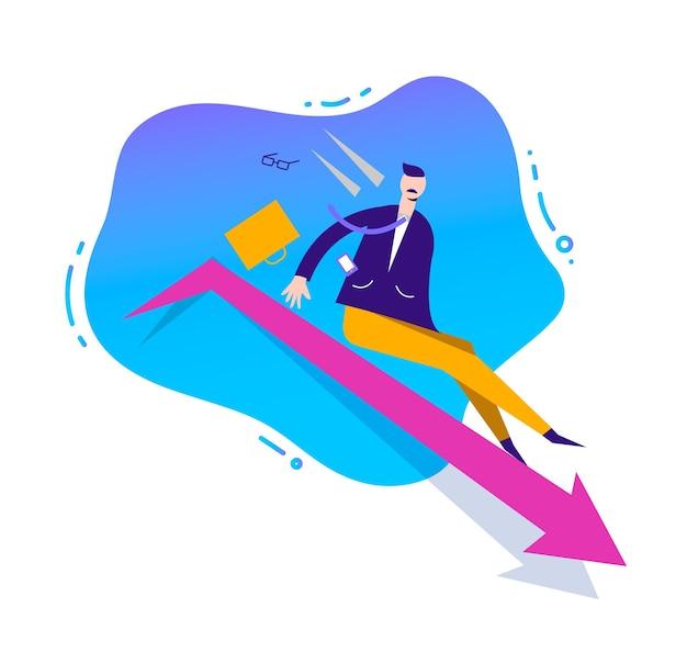 Ilustración de negocios, carácter estilizado. concepto de ventas comerciales fallidas. hombre deslizándose hacia abajo por la flecha, perdiendo posición en los negocios Vector Premium