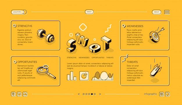 Ilustración de negocios de swot analysis en diseño de líneas finas isométricas en medios tonos amarillos vector gratuito