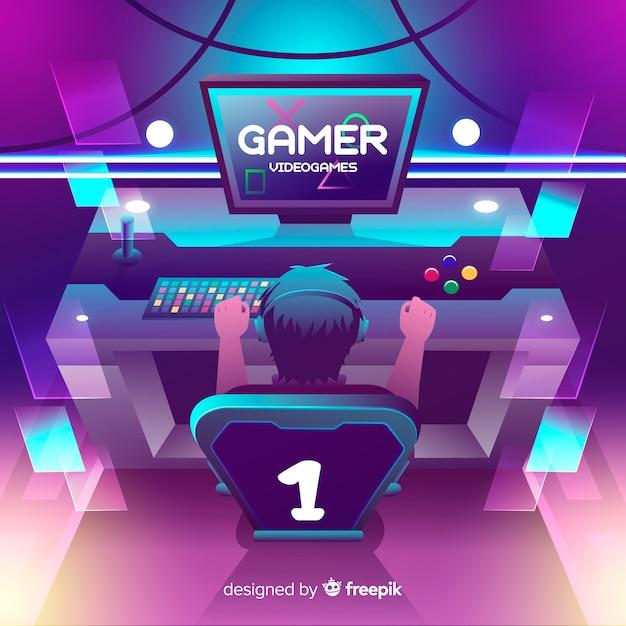 Ilustración neón gamer diseño plano vector gratuito