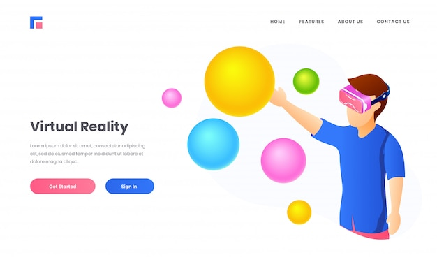 Ilustración de un niño con gafas de realidad virtual mirando bolas de colores y burbujas para el diseño de la página de inicio del sitio web de realidad virtual. Vector Premium