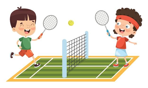 Vectores Jugando Ilustración Del TenisDescargar Al Niño Premium xsCBthrdQ