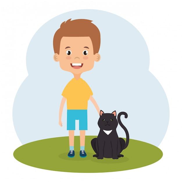 Ilustración de niño con personaje de gato vector gratuito