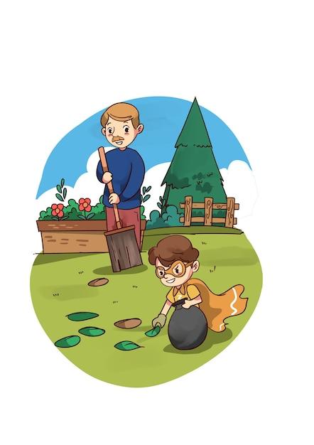 Ilustración de niño superhéroe ayudando a papá en el jardín Vector Premium