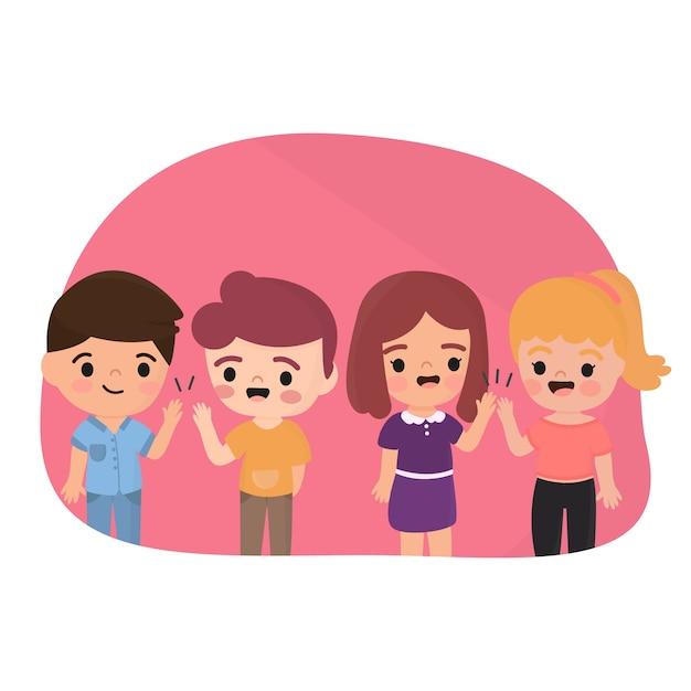 Ilustración con niños dando choca esos cinco vector gratuito
