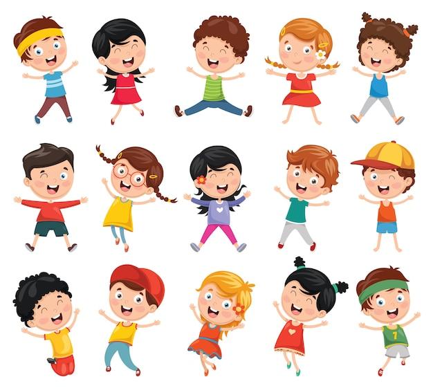 Ilustración de los niños de dibujos animados Vector Premium