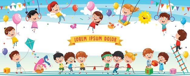 Ilustración de niños felices Vector Premium