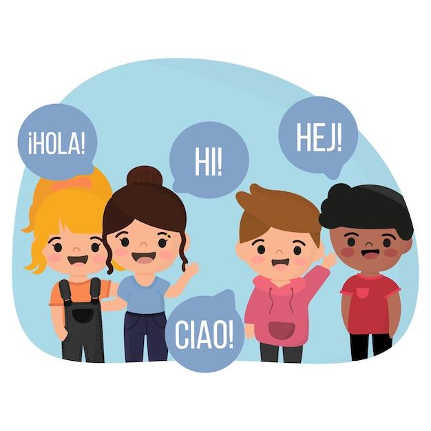 Ilustración con niños hablando un idioma diferente vector gratuito