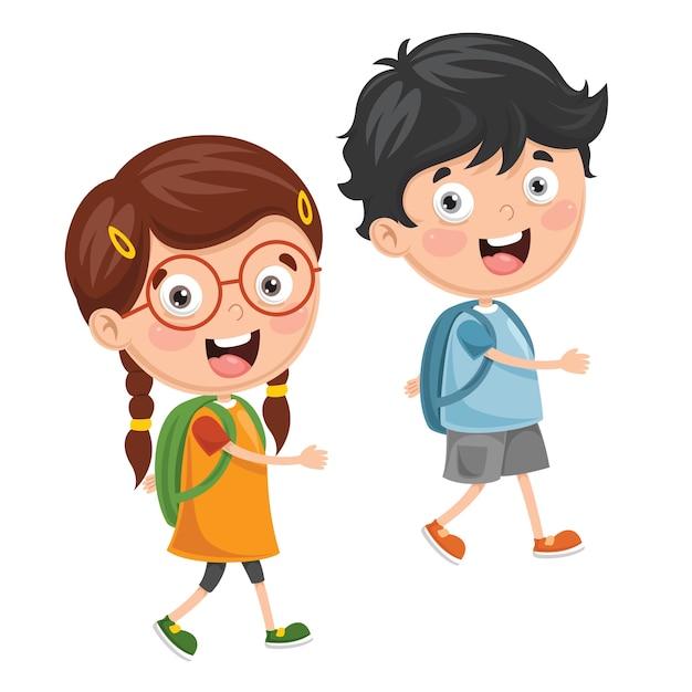 Ilustración De Niños Yendo A La Escuela Descargar Vectores Premium