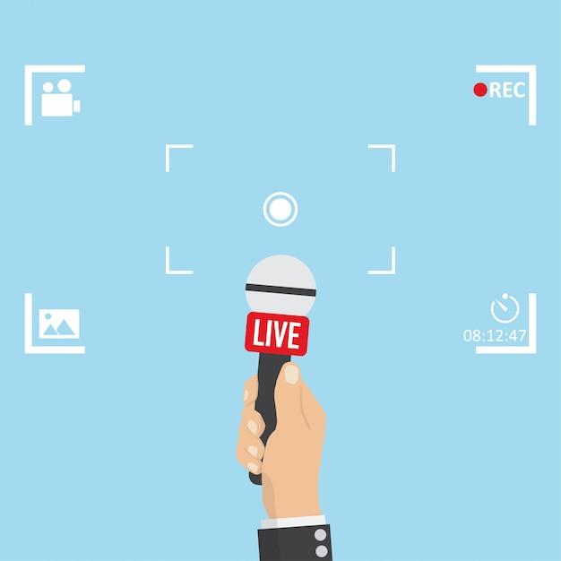 Ilustración de noticias en foco tv y live con marco de cámara. Vector Premium