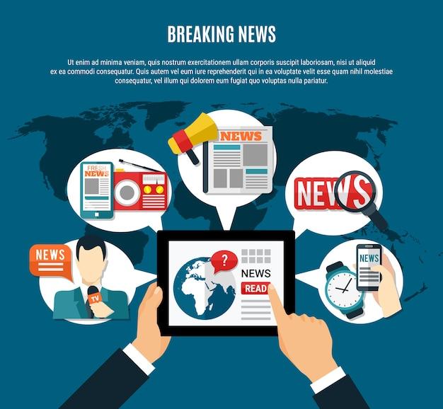 Ilustración de noticias de última hora con información fresca en la pantalla de la tableta, el periódico del presentador de televisión y el receptor de radio, símbolos redondos vector gratuito