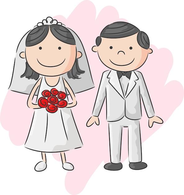 Ilustración de la novia y el novio Vector Premium