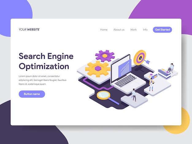 Ilustración de optimización de motor de búsqueda para páginas web Vector Premium