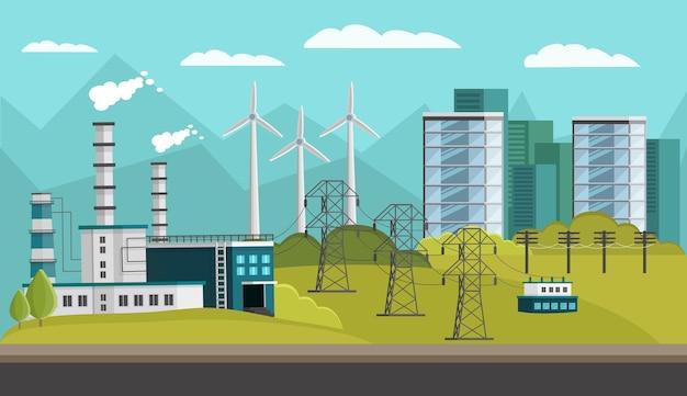 Ilustración ortogonal de generación de energía vector gratuito