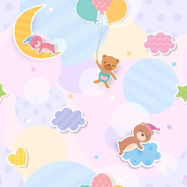 Ilustración de oso lindo y diseño de globo y nubes a patrones sin fisuras Vector Premium