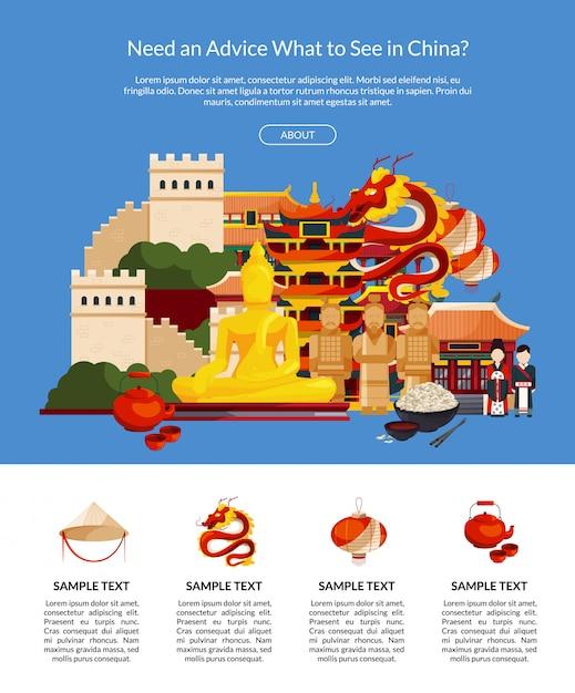 Ilustración de página de aterrizaje elementos y vistas de estilo plano de china Vector Premium
