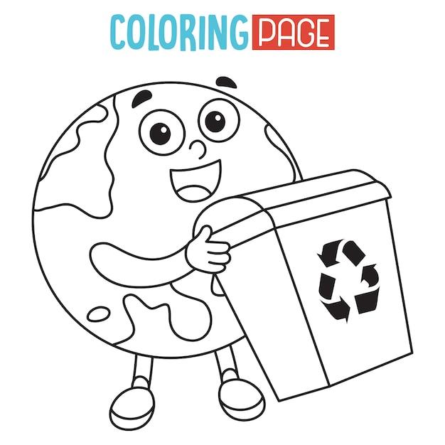 Ilustración de la página para colorear de la tierra | Descargar ...