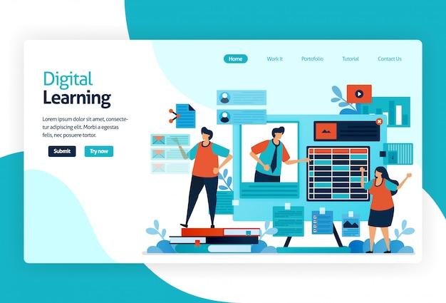 Ilustración de la página de destino para el aprendizaje digital Vector Premium