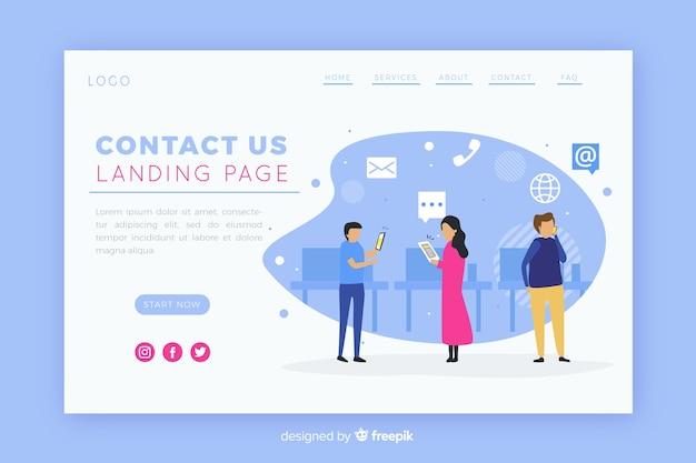 Ilustración para la página de destino con el concepto de contacto. vector gratuito