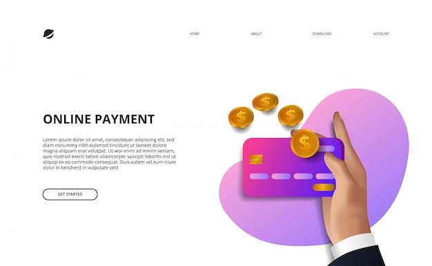 Ilustración de página de destino de pago en línea concepto de comercio electrónico y finanzas empresariales Vector Premium