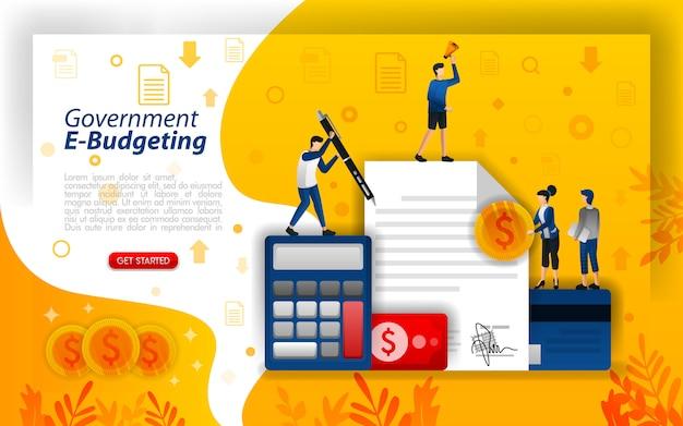 Ilustración de la página de destino para el presupuesto electrónico o los costos de planificación Vector Premium