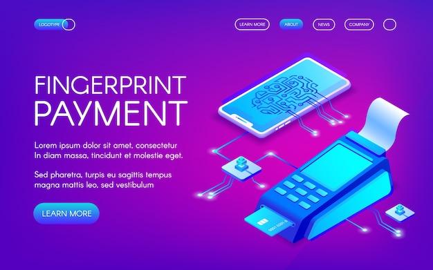 Ilustración de pago por huella digital de tecnología de pago seguro con autenticación personal. vector gratuito